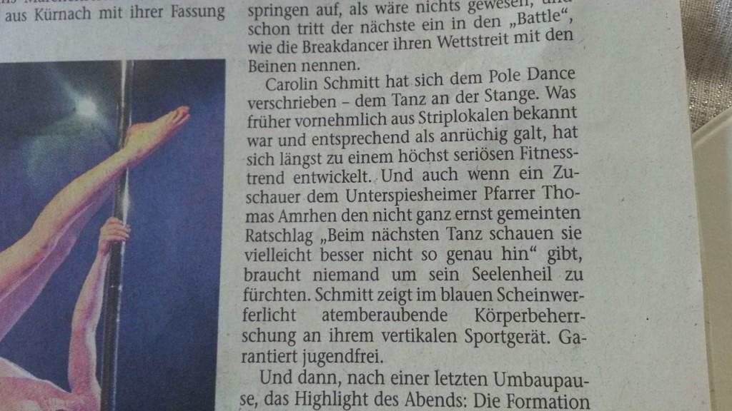 Mainpost Zeitungsausschnitt Poledance